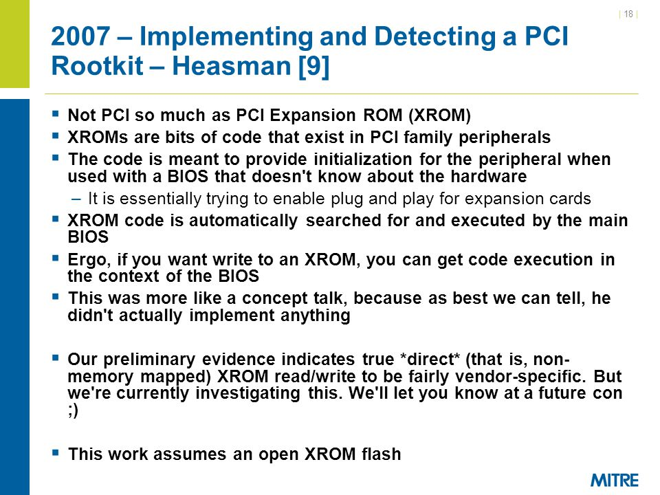 2007 – Implementing and Detecting a PCI Rootkit – Heasman [9]